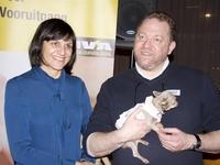 Onze voorzitter met Martine Maerten en haar schattig hondje